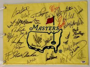 Masters champs signed flag Tiger Woods arnold palmer jack nicklaus psa dna pga