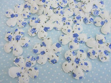 40 Blue/White Shabby Rose Cotton Print Flower Applique/Fabric/Quilting/Bow L51-C