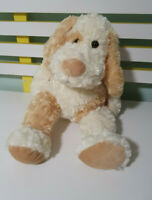 DOG PLUSH TOY WHITE AND BROWN STUFFED ANIMAL 40CM BEANS IN BUM