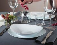 Bormioli Prometeo Dinner Set White Opal Glass Dinnerware Dining Plates Bowls NEW