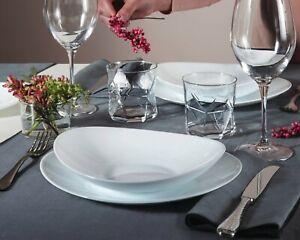 Bormioli Prometeo Dining Plates Dinner Set White Opal Glass Dinnerware Bowls NEW