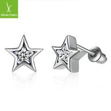 925 sterling Five Star  Zirconia Pave CZ Stud Earrings for women Fashion Jewelry