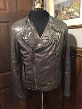 Gucci Mens Grey Moto Puffer Puff Jacket Coat Size 50 US Medium M $1195