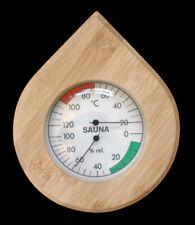 More details for stylish tear shaped temp/hygrometer sauna gauge,solid pine,glassfront,adjustable
