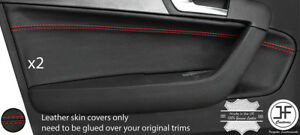 RED STITCH 2X FRONT DOOR CARD TRIM LEATHER COVER FOR AUDI A3 8P 04-12 5 DOOR