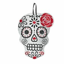 HALLOWEEN PARTY MEXICAN MUERTOS DAY OF THE DEAD HANGING GLITTER SKULL DECORATION