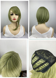 Women Ladies Wig Short Straight Light Green Classic Synthetic Hair Wigs
