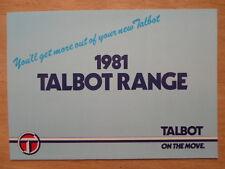 TALBOT 'gamma 1981 UK MKT Opuscolo Vendite-Chrysler Avenger Sunbeam Alpine RANCHO