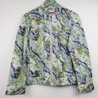 Chicos Women's Metallic Snake Print Moto Jacket Sz 8 NWOT MUST SEE!