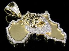 "10K Yellow Gold Genuine Diamond African Jungle King Lion Pendant 1 1/4 Ct 2.25"""