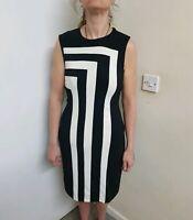 Joseph ribkoff black/white block stripes bodycon dress size uk 12