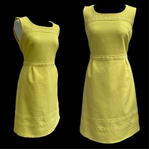 Retro Dress Size 12 UK Bright Yellow 50s 60s Jackie O Mad Men Party Broderie