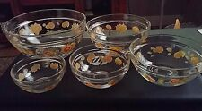 Set of 5 Clear Glass Sunflower Pattern Nesting Mixing/PREP/Measuring Bowls