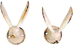 Small Rustic Distressed White Rabbit Wall Hook Set of 2