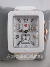 NEW Michele Jelly Bean Park White & Rose Gold Chronograph Watch MWW06L000014 Box