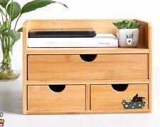 Jewelry Stationary Box Bamboo Wooden Desk Organizer Storage Decorative Drawers