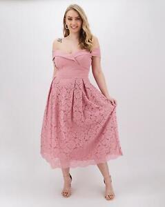 Oasis Isabella Bardot Top Lace Dress - UK 24 - Womens