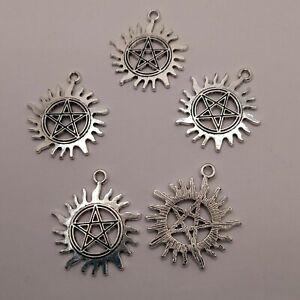 Sun Pentagram Supernatural Flame Charms Silver Wiccan Pagan Pendants 30mm x 26mm
