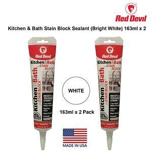 Red Devil Kitchen & Bath Stain Block Sealant Caulk Mold Resistant White 2 Pack