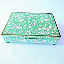 Antique Chinese Cloisonne Emerald Green Floral Jewelry Trinket Box 6 Inch