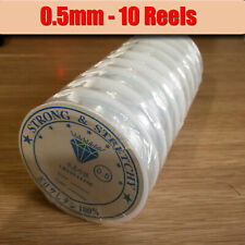 Elastic Stretchy Thread - 0.5mm Strong & Stretchy Clear Beading Cord - 10 Reels