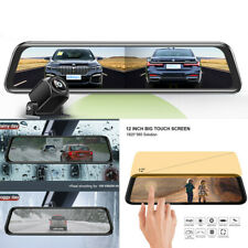 12 In Dash Cam Touch Screen Dash Camera Dual Lens Video Recorder Rearview Mirror