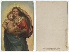 09569-Raffaello: Madonna Sixtina (dettaglio) - vecchia cartolina-PUNTINA buco