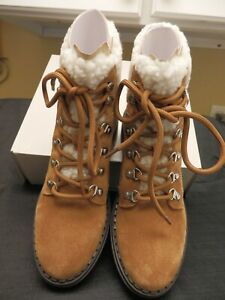 Marc fisher Leigan-Sole Hiker Boots  Brown Suede Leather Size 8 M