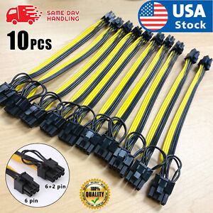 10pcs 20cm Quality Breakout Cable 6Pin to 8Pin (6+2Pin) PCI-E Cable 18AWG Mining