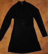 NWT Body Wrappers Black Slinky Long Sleeve Top Split Sides Ladies Medium 7371