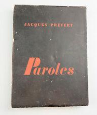 Paroles de Jacques Prévert 1954 NRF