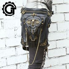 Unisex Skull Rock Leather Retro Vintage Gothic Steam Punk Shoulder Waist Leg Bag
