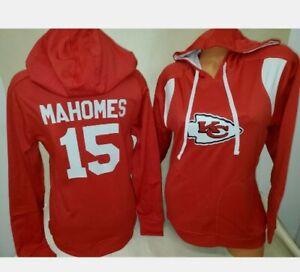 MAHOMES KANSAS CITY CHIEFS RED WOMANS NFL JERSEY HOODY SWEATSHIRT NEW