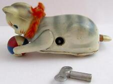 RARE VINTAGE TIN LITHOGRAPH CELLULOID HEAD ROLLOVER CAT W/BALL KEY JAPAN ~ WORKS
