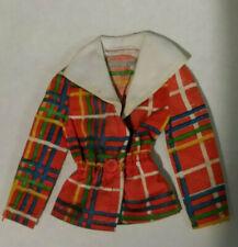 Vintage Barbie Clothing BEST BUY #7815 MOD Plaid Orange Jacket White Collar EUC