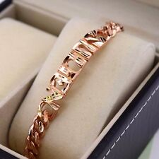"""18k Rose Gold Filled Charm Bracelet Carved 7.8""""Chain Link GF Fashion Jewelry NEW"""