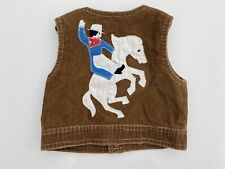 Vintage 1970's Hand Made Stitched Brown Corduroy Child's Western Cowboy Vest