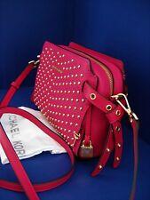 NWT Michael Kors Bristol Studded Leather Crossbody Ultra Pink wGoldTone Hardware