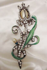 """Vintage 1940 STARET 4.5"""" Green Enameled RS Pot Metal Brooch Pin Pearlized bead"""