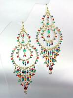 NEW ARTISANAL Aquamarine Blue Red Garnet Multi Crystals Gold Chandelier Earrings
