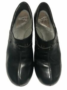 Dansko Women's Black Studded Leather Closed End Mules - Size 41/EU  10.5/US