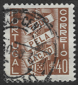 """PORTUGAL 1935 All for the Nation Inscription """"TUDO PELA NACAO""""  Stamp 40c (KBX)"""