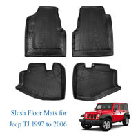 All Weather Front & Rear Slush Floor Mats For 1997-2006 Jeep Wrangler TJ LJ