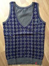 EDC by ESPRIT Pullunder Pullover Weste Oberteil blau Raute Gr. S NEU