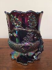 ACORN & OAK LEAF Open Spooner Black Amethyst Carnival Glass Footed Spoon Holder