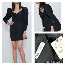 ZARA BNWT Black Long Big Puff Sleeve Short Babydoll Dress Blogger Trend Medium
