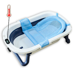 Collapsable Baby Bathtub with Thermal Meter and Seat, Blue Foldable Shower Tub