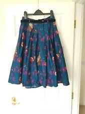 Hell Bunny 40s 50s Knee Length Skirt Woodland Owls Blue w/ Belt S 8/10 New!