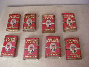 """Set Of Eight Union Leader """"Uncle Sam"""" Tobacco Tins"""
