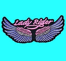 LADY RIDER WINGS Top Woman Motorcycle Biker Embroidered Iron On Patch Applique